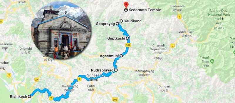 Kedarnath Route Map